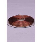 Лента атлас 6 мм с золотом, шоколад (рул 25 м) фото