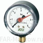 "Манометр 1/4"", торцевое соединение, 0-10 бар, 20-80°C, D=63мм, артикул FA 2500 10 фото"