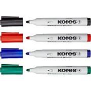 Набор маркеров для досок Kores с губкой, 1мм , 4шт/уп фото