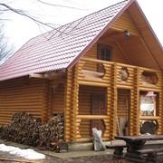 Производство деревянных домов из оцилиндрованного бревна, распиловка дерева фото