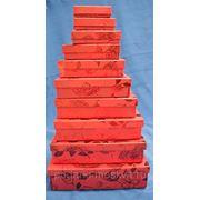 """Комплект коробок из 10шт. """"Красные цветы"""" 973-095 фото"""