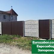Бетонный забор и ворота из профнастила в Запорожье фото
