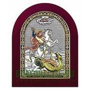 Beltrami Георгий Победоносец, святой великомученик, серебряная икона в деревянном окладе с позолотой и цветной эмалью Высота иконы 10 см фото