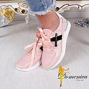 Модные кроссовки из натуральной перфорированной кожи со вставками гипюра и натуральной замши фото