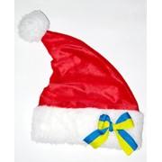 """Новогодняя шапка санты красная с бантом """"флаг Украины"""" фото"""