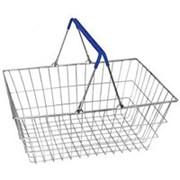 Металлическая корзина для торгового зала, объем 20л, цвет цинк/синий. MD-ТО-1.1-B фото