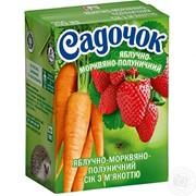 Сік Садочок Яблучно-Морквяно-Полуничний з м'якоттю 0,2л (9 штук) фото