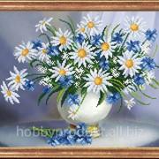 """Рисунок на ткани для вышивания бисером """"Ромашки с васильками"""" КС-040 фото"""