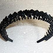 Ободок ромбики черный 7128 фото