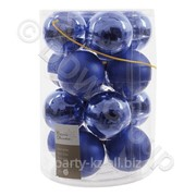 Декор Шар стекл. синий эмаль,матов d8см 16шт,уп фото