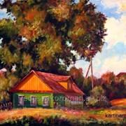 Сельский пейзаж маслом на холсте, домик в деревне фото