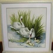 Вышитая картина Лебеди фото