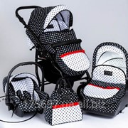 Детская универсальная коляска Dada Paradiso Group DPG Glamour Dots 2 в 1 цвет черный в горох фото