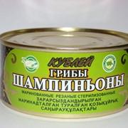 Грибы Шампиньоны маринованные, резанные, стерилизованные, Грибы консервированные. фото