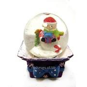 Шар стеклянный снежный рождественский 6см К65249 фото