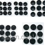 Пуговицы 11 мм чёрные 1000 шт (2-4 прокола) фото