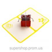 Обьемная открытка - трансформер Сюрприз желтая 185-18411191 фото