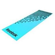Тренировочный коврик (мат) для фитнеса мягкий Reebok (голубой-черный) Арт. RAMT-12235BL фото