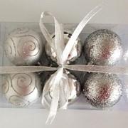"""Набор елочных шаров """"Снежные узоры"""", 6 шт, 6 см, серебряные, (MILAND) фото"""