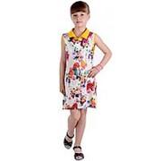 Очаровательное летнее платье-рубашка бежевого цвета без рукавов 134 фото