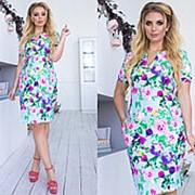 Летнее платье женское до колена (5 цветов)- Голубой ТК/-1023 фото