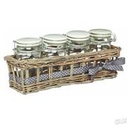 Баночки стеклянные для хранения 230мл с керамическими крышками и корзинкой из ивы Home Made Kitchen Craft 4шт (103550) фото