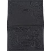 Обложка для автодокументов из натуральной кожи, чёрный, тисн. конгрев, 5,12-211 фото