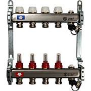 STOUT Коллектор из нержавеющей стали с расходомерами, с клапаном вып. воздуха и сливом 4 вых. фото