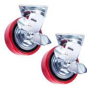Колесо поворотн. тормоз PU/металл TOR (C550B/PU1040CB3ra/TG) 100мм фото