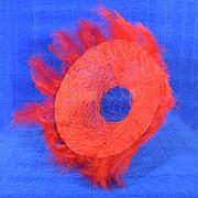 Каркас для букета 25 см сизаль гл с перьями красный фото