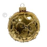 Шар стекл. золотой с завитками цветов глянцев д 8 см фото