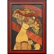Картина из камня - Девушка в шляпе из цветов фото