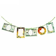 Набор фоторамок -- с прищепками на веревке Деньги 5рамок+5прищепок, веревка фото