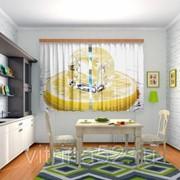 """Шторы для кухни """"Лимон со льдом"""" фото"""