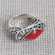 Изысканное серебряное кольцо ручной работы с красным кораллом. Балийское серебро фото