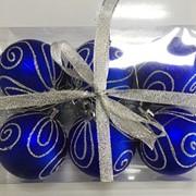 """Набор елочных шаров """"Зимние узоры"""", 6 шт, 6 см, синие матов., (MILAND) фото"""