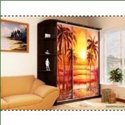 Шкаф-купе с фотопечатью с пальмами на фоне заката фото