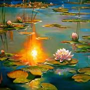 Пейзаж с кувшинками и лилиями маслом на холсте, импрессионизм фото
