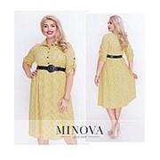 Платье женское с расклешенной юбкой-желтый (7 цветов) ОМ/-5011 фото