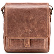 """Кожаная сумка через плечо """"Алекс"""" (светло-коричневая) фото"""