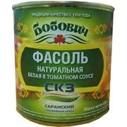 Фасоль натуральная белая в томатном соусе Бобович, евробанка, 425г фото