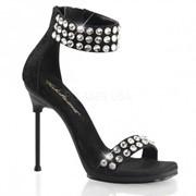 Атласные босоножки с кружевом и камнями, вечерняя обувь Chic-41 фото
