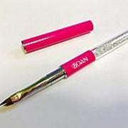 Кисть для геля и дизайна BOAN №4 W скошенная (фуксия) фото
