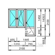 Балконный блок 2100*2100 с 2мя откр. окнами фото