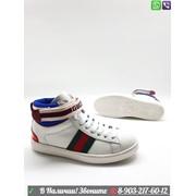 Кеды Gucci с полоской Web высокие фото