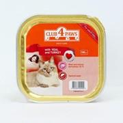Консерва для котов паштет с телятиной и индейкой 100г - Клуб 4 лапы фото