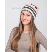 Зимняя шапка чулок в полоску фото