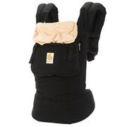 Эрго рюкзак (слинг рюкзак) черный с бежевым капюшоном фото