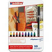 Набор фломастеров Edding 1300 для письма и черчения, 10 цветов в наборе, металлическая коробка фото