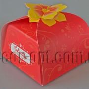 Бонбоньерка с цветком красная 6,5х6,5х6,5см 570792 фото